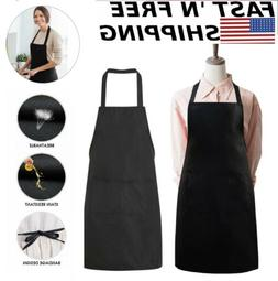 1/2x Pure Black Aprons Kitchen Restaurant Men Women Bib With