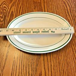 "11"" VINTAGE BUFFALO OVAL PLATTER RESTAURANT WARE GREEN STRIP"