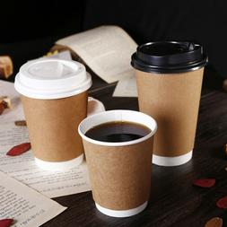 25PCS Coffee Cups Milk Tea Kraft Paper Cup with Lid for Rest