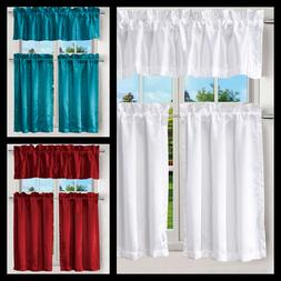3PCS KITCHEN RESTAURANT SATIN WINDOW CURTAIN 2 TIER + 1 VALA