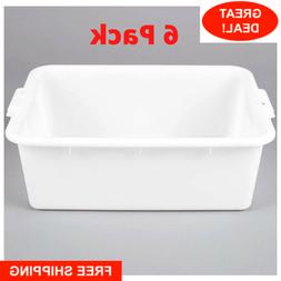 "6 PACK 20"" x 15"" x 7"" WHITE Storage Plastic Dish Restaurant"