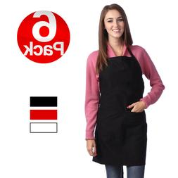 6 pc plain aprons with 2 pockets