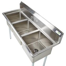 """60"""" Stainless Steel 3 Compartment Commercial Sink Restaurant"""