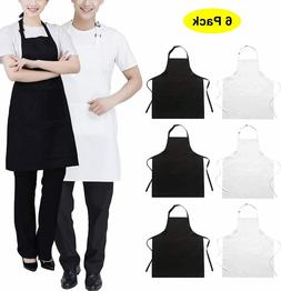 6Pack Adjustable Aprons With 2 Pockets For Kitchen Chef Rest