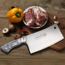 7'' Kitchen Cleaver Knife Chopper Butcher Stainless Steel Fo