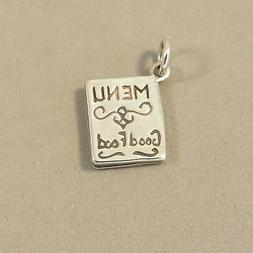 """.925 Sterling Silver MENU CHARM Pendant """"Good Food"""" Chef Res"""
