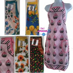 ASM Home Collection Vtg Women printed Bib Aprons with 2 pock