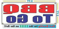 BBQ TO GO Banner Sign NEW Larger Size for Restaurant Food Tr