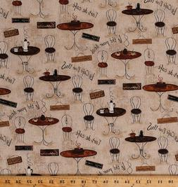 Cotton Coffee Parisian Street Cafe French Restaurant Fabric