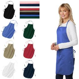 Full-Length Apron Adjustable Length Pockets Uniform Restaura