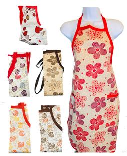 CROVER Home Collection Women printed Bib Aprons with 2 pocke