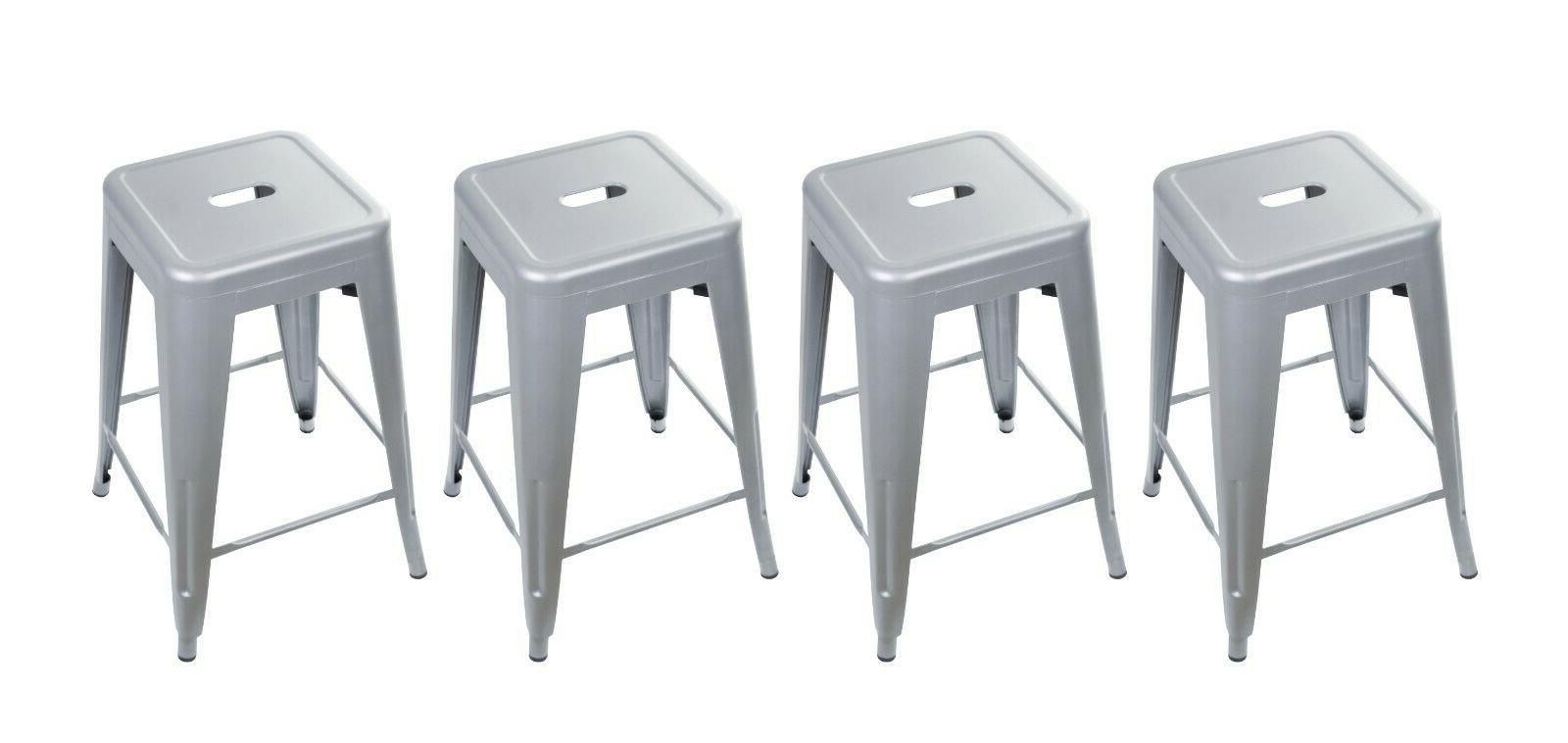 24'' Metal Stool Industrial Gray Kitchen Dining Counter Bar