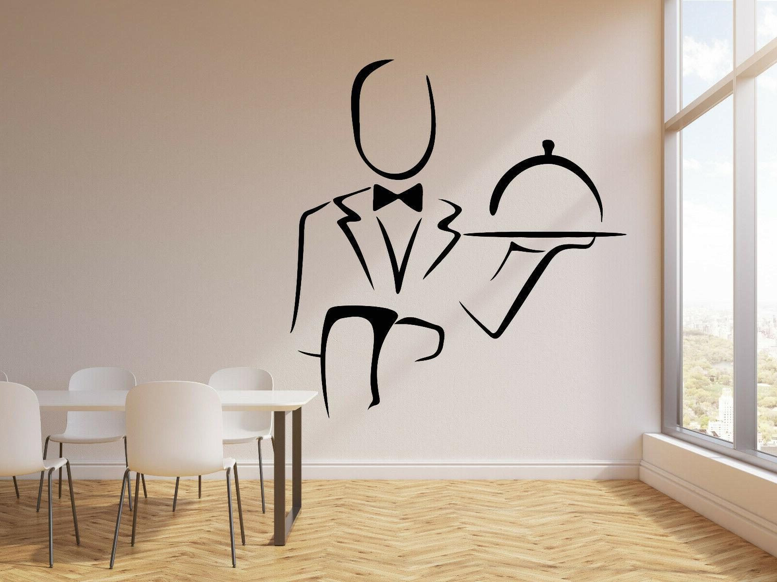 vinyl wall decal abstract waiter cafe restaurant
