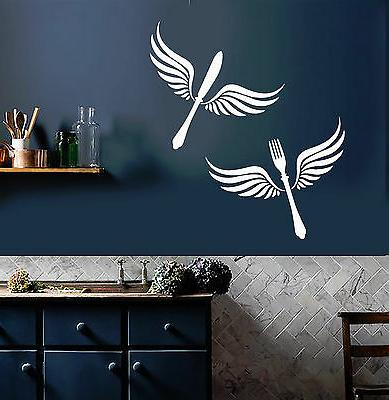 vinyl wall decal cutlery wings kitchen restaurant