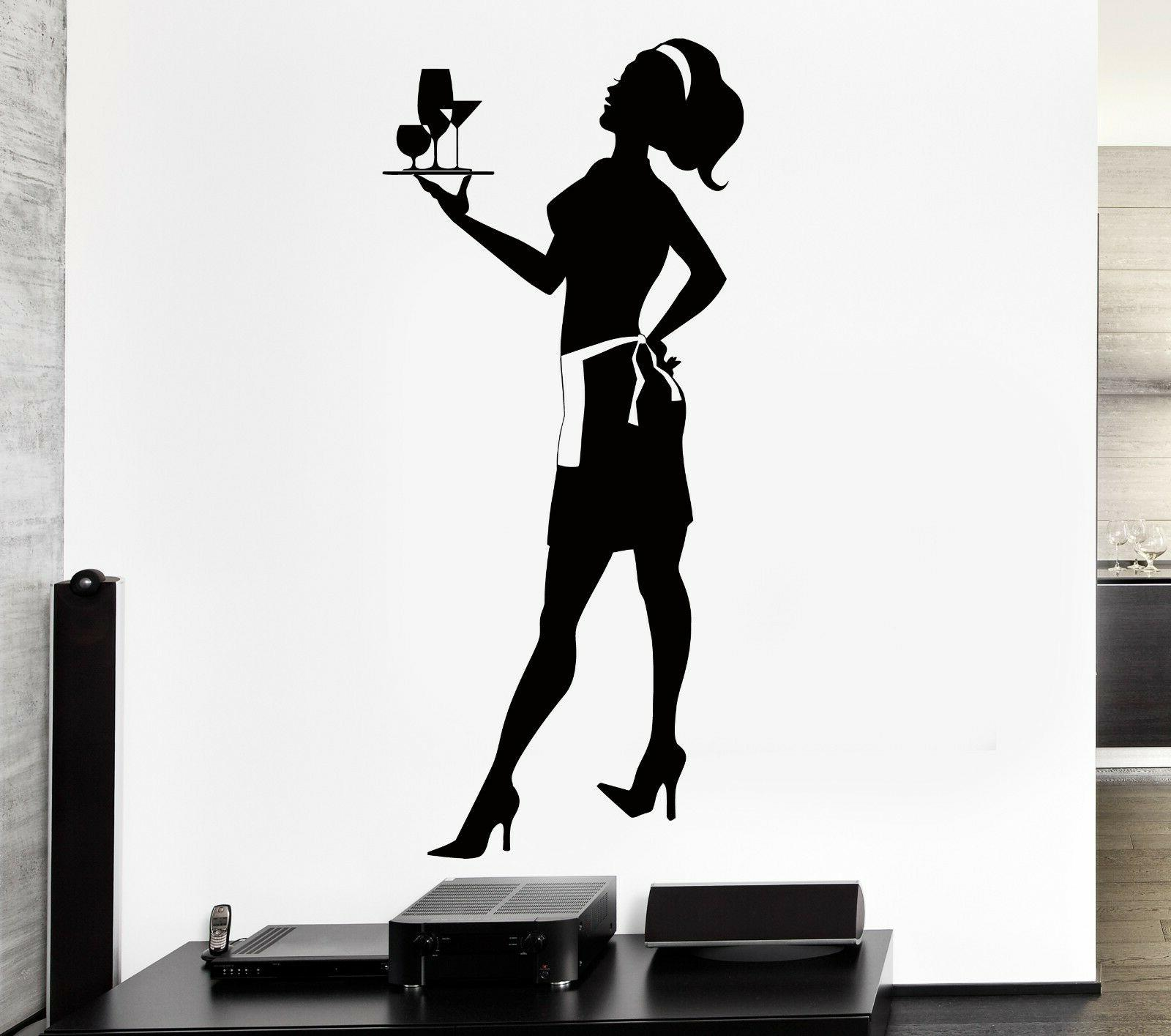 wall decal housewife waiter restaurant kitchen decor