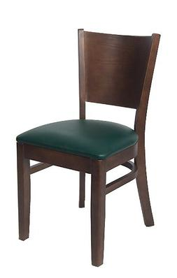 Lot of 20 Walnut Finish Solid Back Wooden Restaurant Chair a