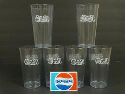 Pepsi Clear Drinking Glasses ~ Set of 6 ~ Plastic Acrylic Re
