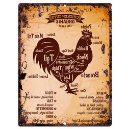 PP0011 Vintage Chicken Meat Chart sign Home Restaurant Cafe
