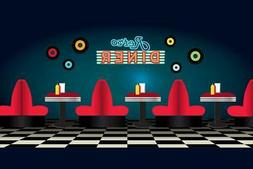 Retro Diner Restaurant Scene Cool Wall Decor Art Print
