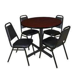 "Regency 5-Piece 42"" Round Lunchroom Table with Metal ""X"" Bas"