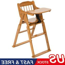 Safety Baby High Chair Bamboo Stool Infant Feeding Children