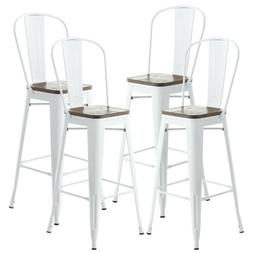 Set of 4 Metal Bar Stools Pub Chairs Restaurant Home Dining