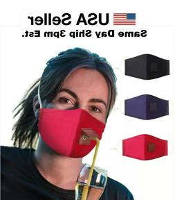 straw hole for drinking face mask adjustable