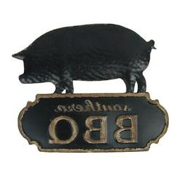 Vintage Style Metal Southern BBQ Pig Wall Sign Restaurant Ba