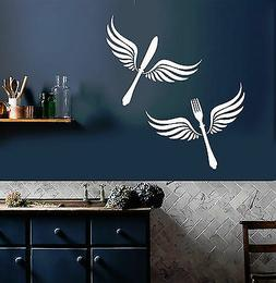 Vinyl Wall Decal Cutlery Wings Kitchen Restaurant Decor Stic