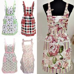Women Kitchen Restaurant Bib Cooking Apron Dress Waitress Ap