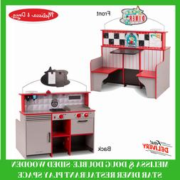 Wooden Star Diner Restaurant Play Set & Kitchen Double Sided